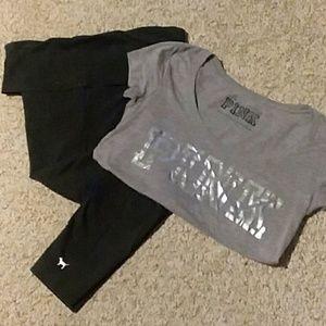 Vs Pink leggings and t-shirt